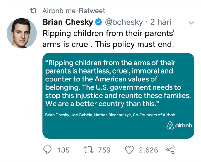 Pernyataan Co-founder Airbnb Tentang Kebijakan Donald Trump untuk Keluarga Imigran