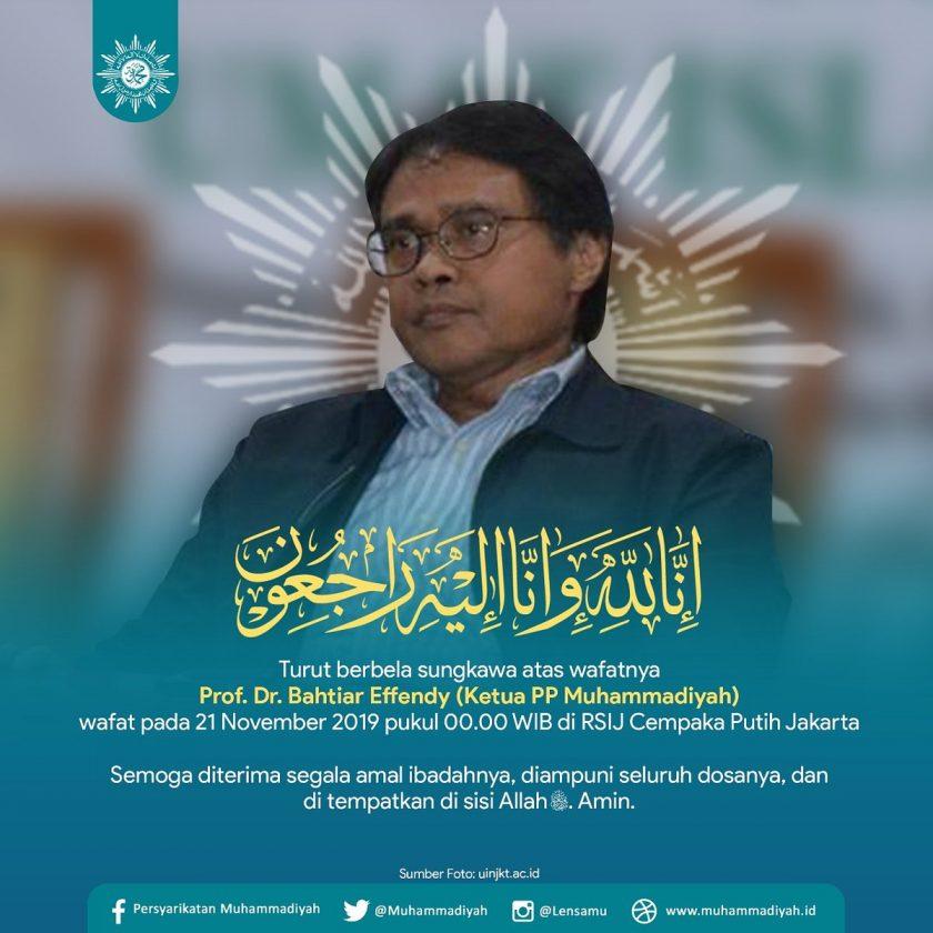 Ketua PP Muhammadiyah Bahtiar Effendy Tutup Usia. Sumber : twitter.com/muhammadiyah